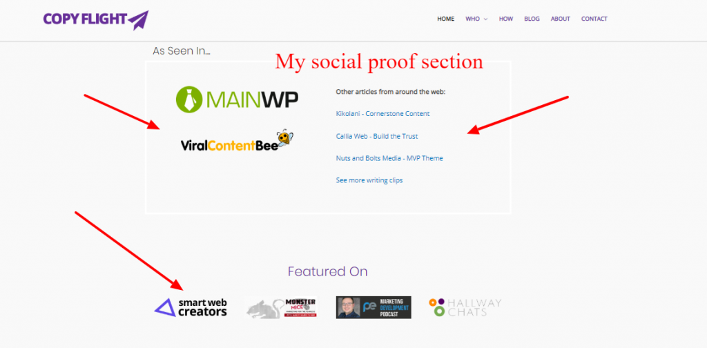 My social proof section on the Copyflight homepage