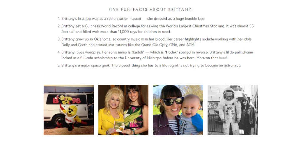 Screenshot: www.brittanyhodak.com/about Brittany Hodak About Page